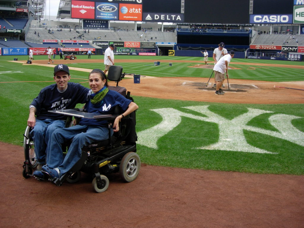 On the field at Yankees Stadium, 2014