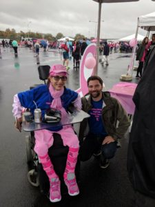 With musician Eli Lev at the Making Strides Against Breast Cancer Walk, 2017.