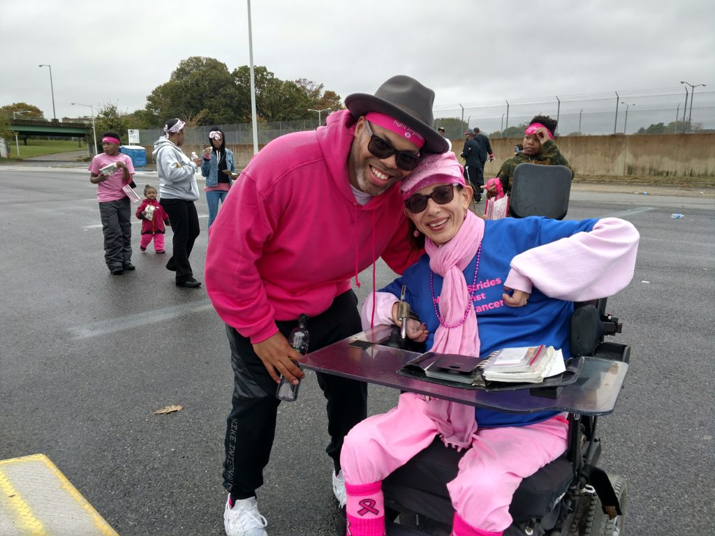 With R&B artist Eric Robertson at the Making Strides Against Breast Cancer Walk, 2017.