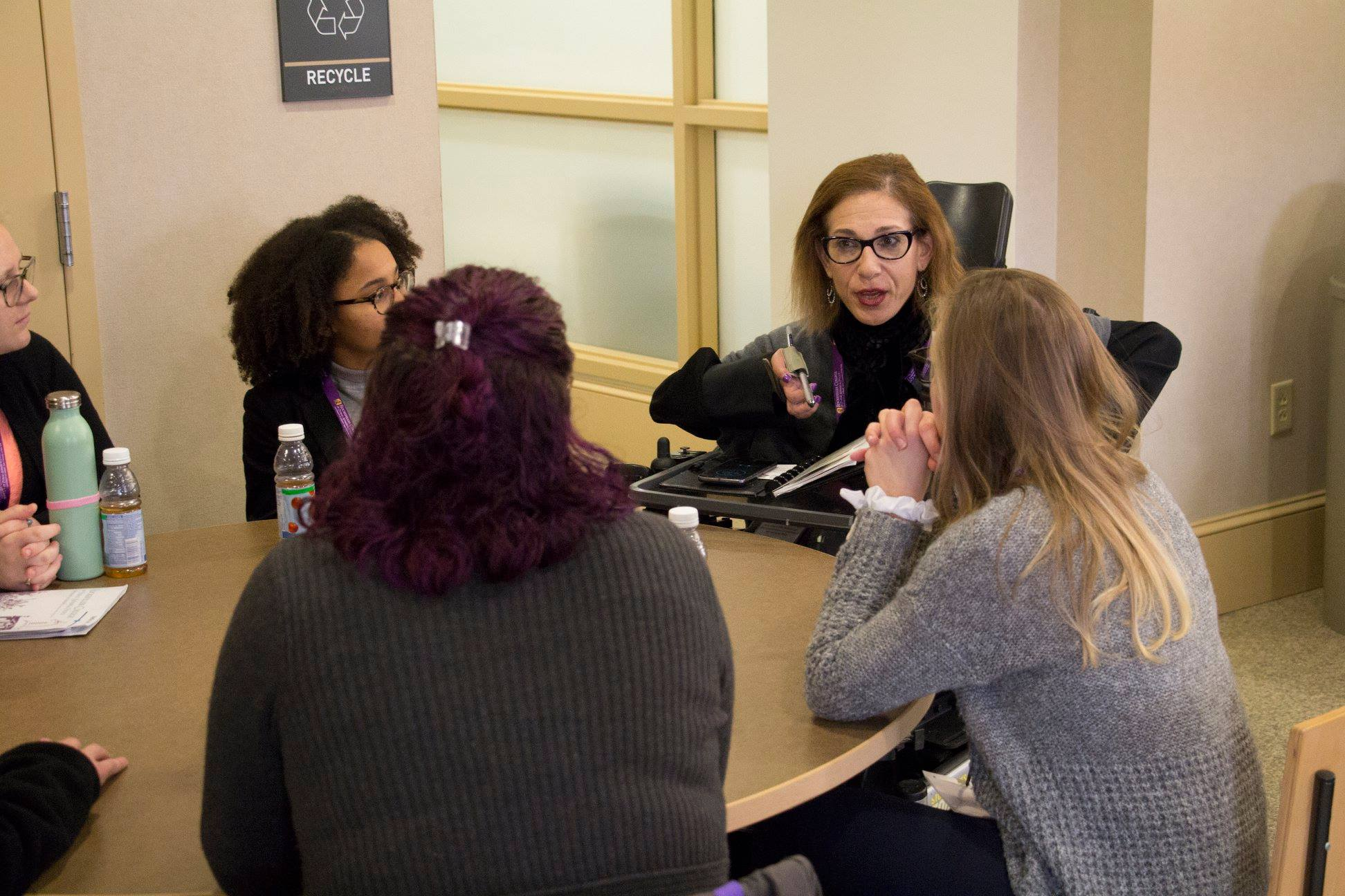 Sheri participating in a mentoring/networking session with students at the University of Albany, 11-18.