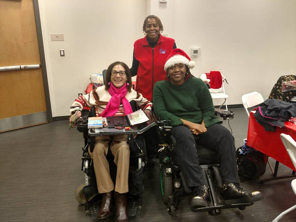 Annual Thelma D. Jones holiday breast cancer support meeting celebration (Sheri, Thelma Jones, Regina Blye), 12-18.