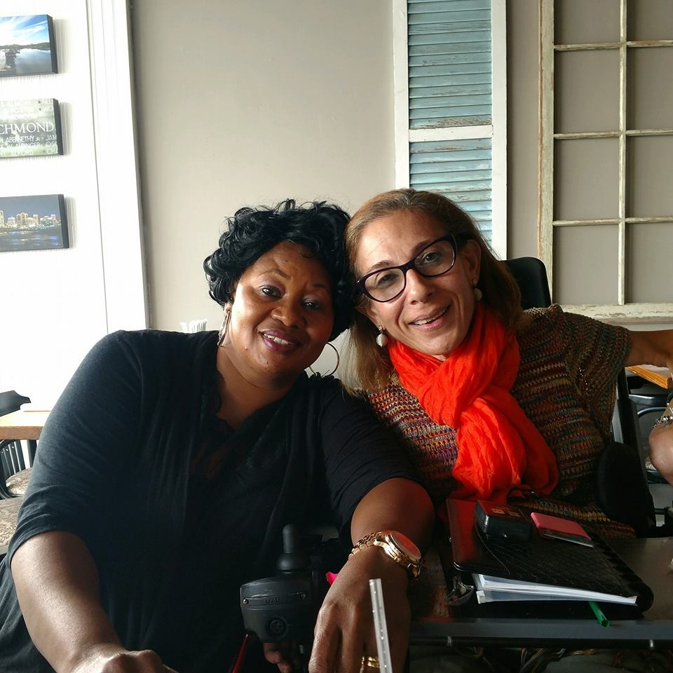 Sheri with caregiver, Fatima, at brunch in Richmond, VA, 9-18.