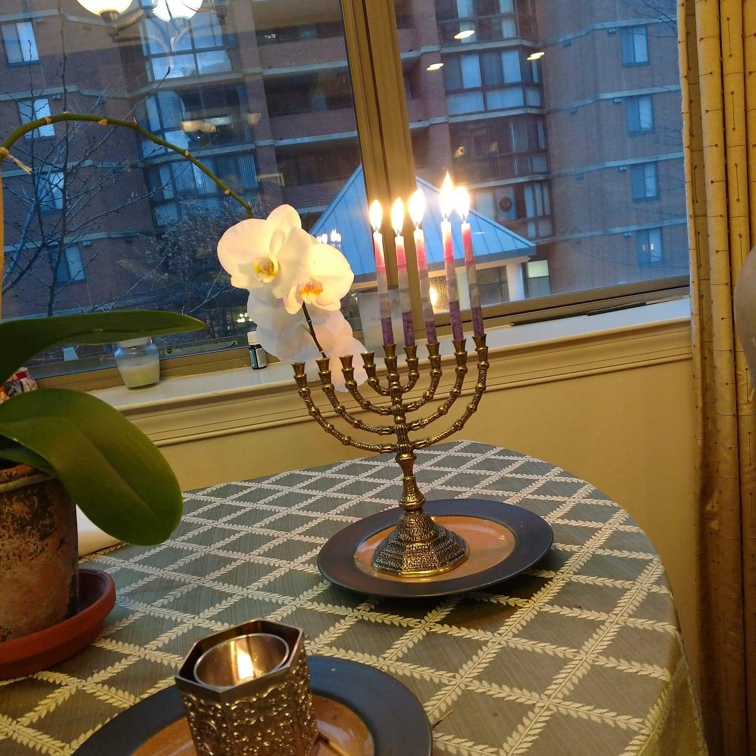 Happy Hanukkah and Sheri's mom remembrance candle, 12-18.