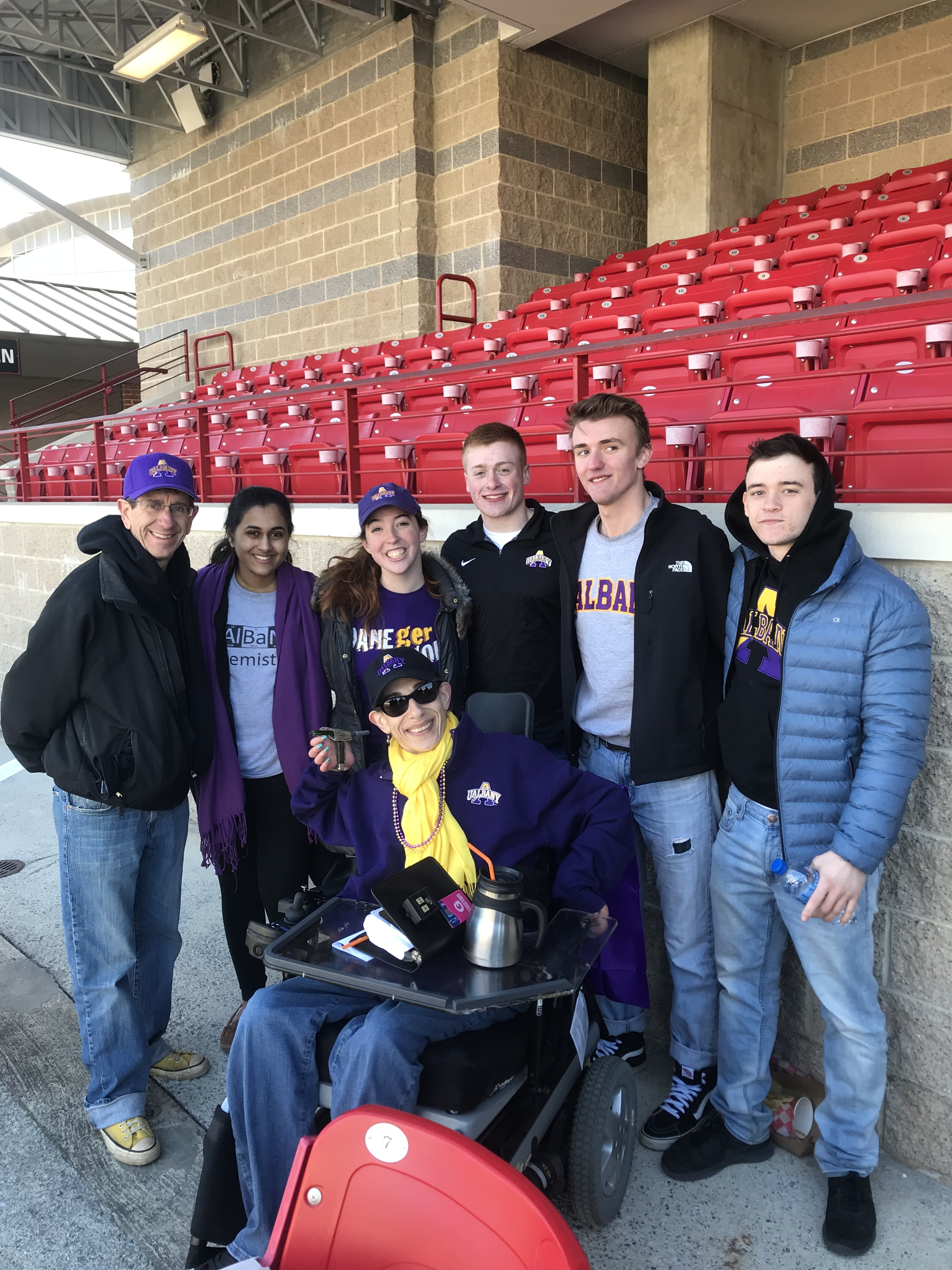 Sheri and UAlbany students at the Albany/Maryland lacrosse game, 2018.