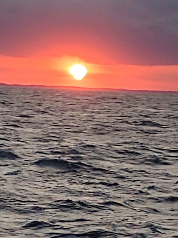 Sunset from the middle of the Delaware Bay, 9-19.