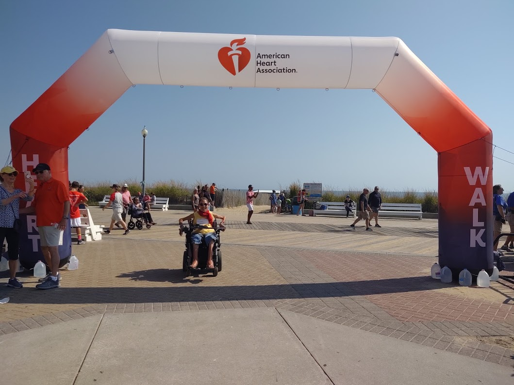 Sheri at the finish of the American Heart Association walk in Rehoboth Beach, DE, 9-19.
