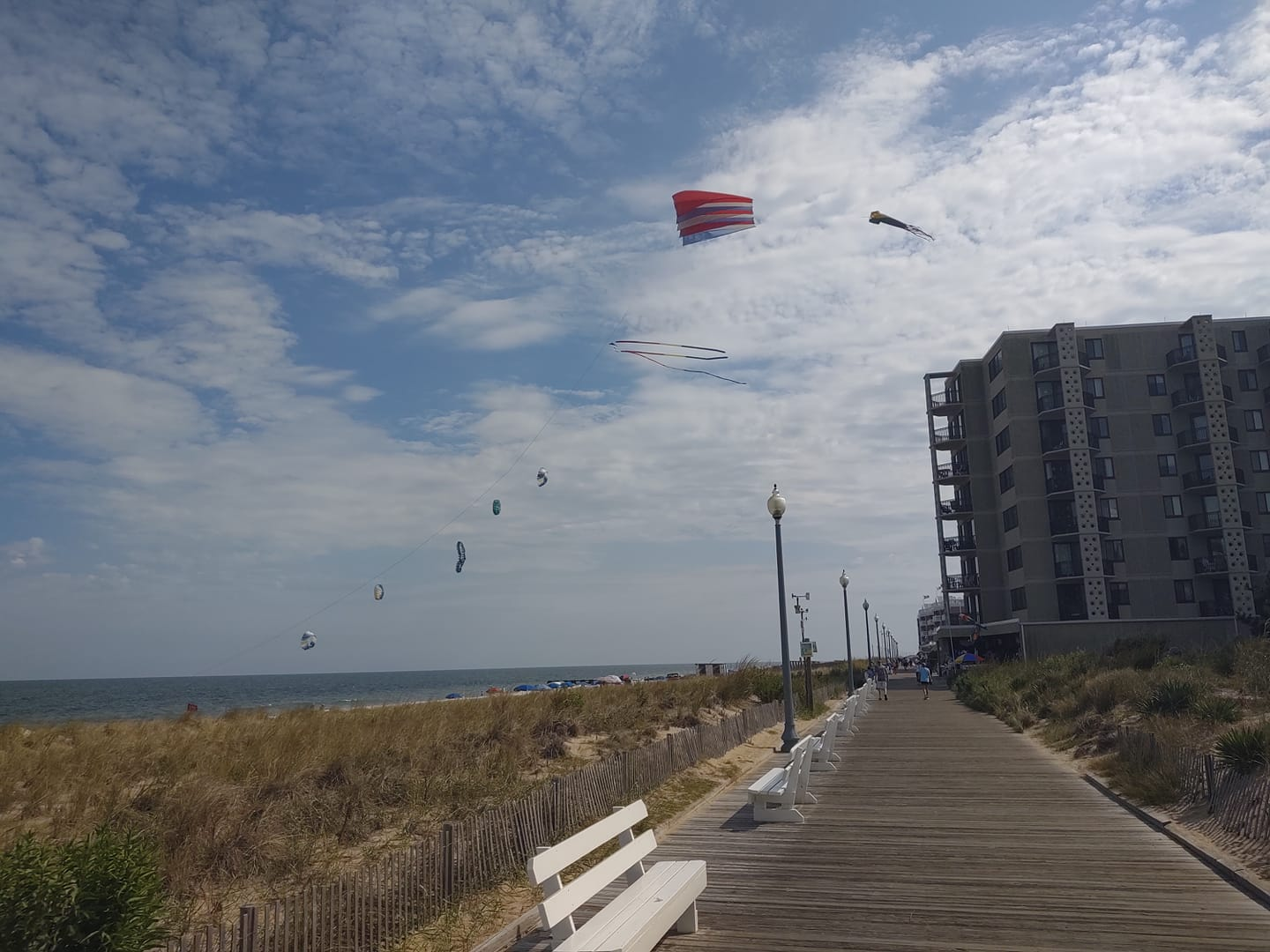 A kite flying above the Rehoboth Boardwalk, 9-19.