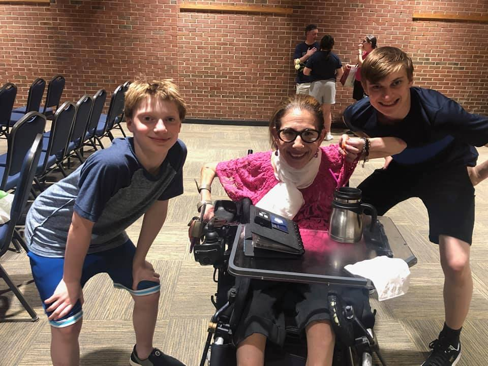 Sheri with Adam (L) and Ari (R) Feinberg Halverson after their wonderful performance in the production of The Wedding Singer at the Vienna Community Center, 8-19.