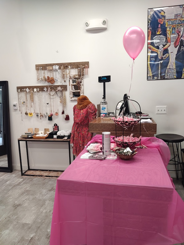 Everything is ready and set up for the Undaunted Determination fundraiser for Making Strides Against Breast Cancer at the fabulous boutique in Ballston Quarter, Gossip on 23rd, 10-19.