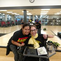 Sheri, with favorite Friday Zumba instructor Liz, at her last class before she moves to San Diego, 8-19.