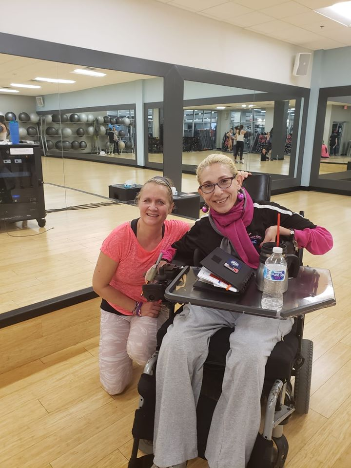Sheri with her favorite Tuesday Zumba teacher, 12-19.