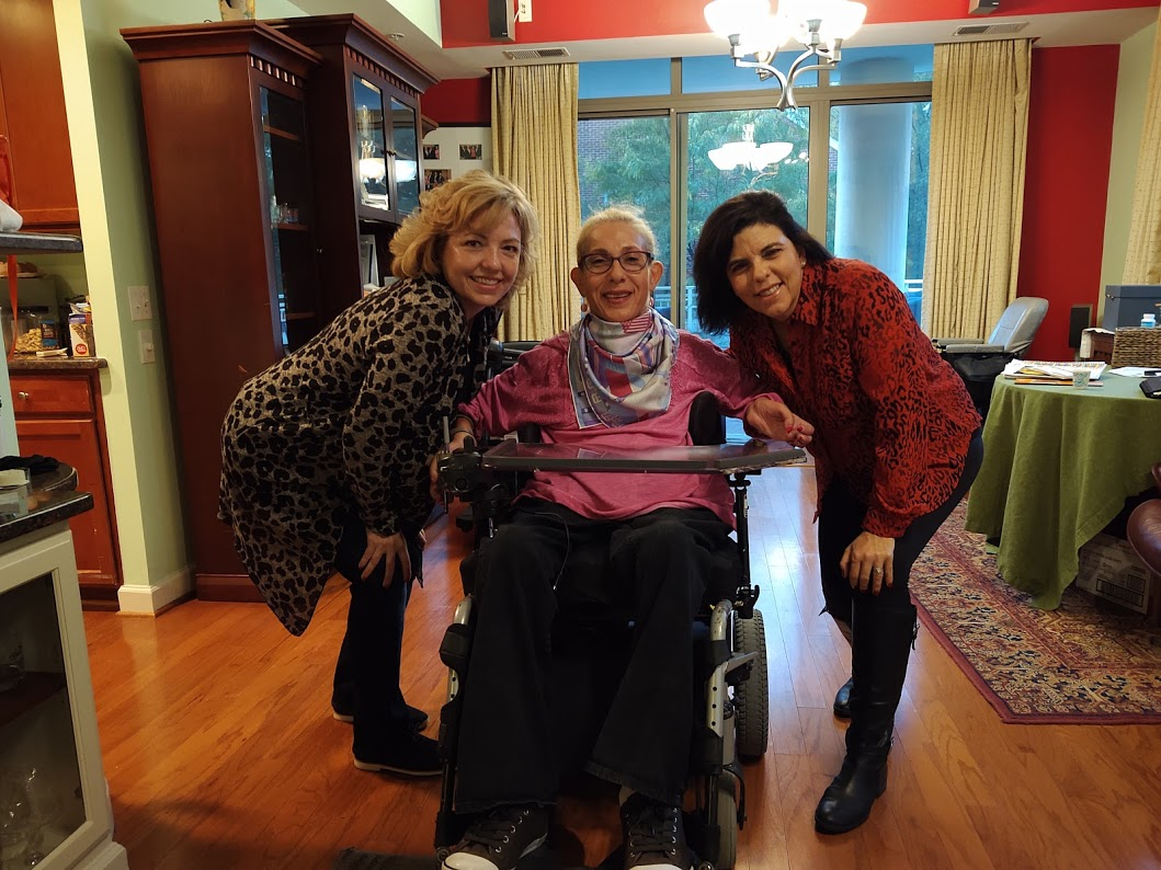 Sheri visiting with great Georgetown University lifelong friends, Susana Ertac (r) and Cathy Jo Freehan Ryan (l), 10-19.