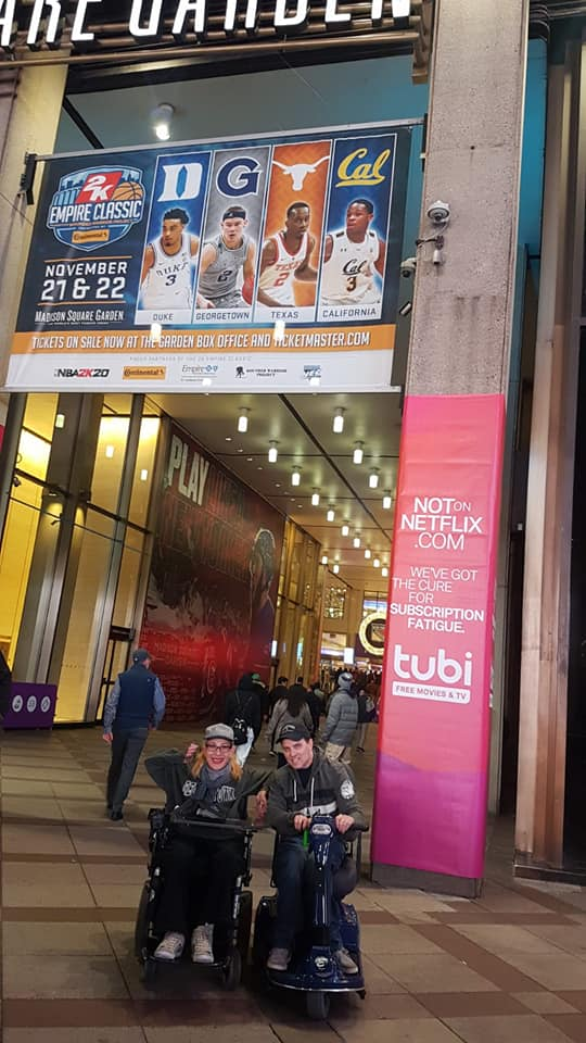 Happy on Wheels at the 2K Empire Classic basketball tournament at Madison Square Garden, 11-19.