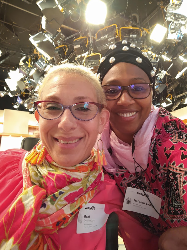 Sheri and her assistant Halema at local TV channel USA-9 for a morning show covering breast cancer awareness month, 10-19.
