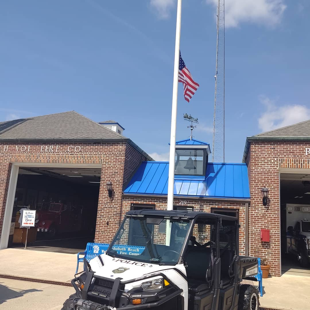 Rehoboth Volunteer Fire Company flying the flag at half- mast in honor of 9/11, 9-19.