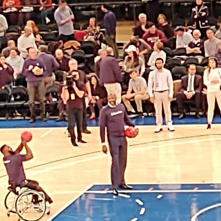 Halftime show at the Garden where Alonzo Mourning played a game of HORSE against a Wounded Warrior who used a wheelchair, 11-19.