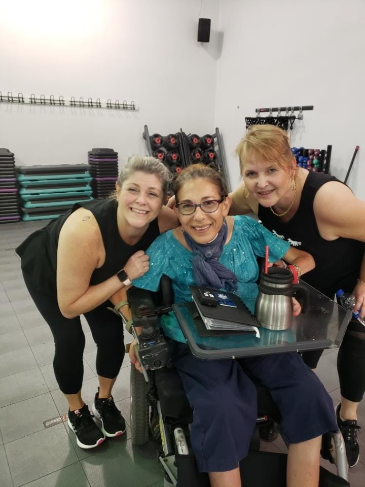 Exercising at the local gym with great instructors Dawn and Janet, 9-19.