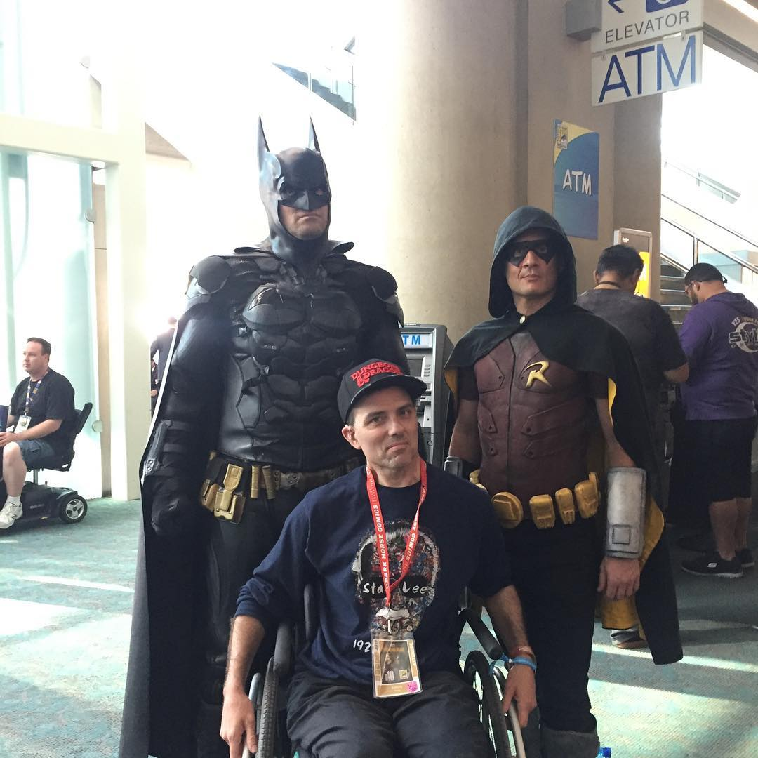 Tony with Batman and Robin cosplayers  at San Diego Comic-Con, 7-19.