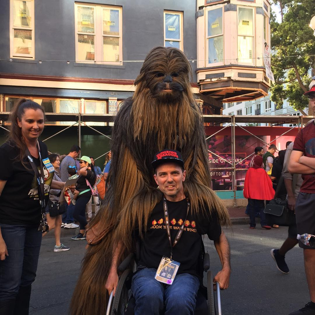 Tony with a Chewbacca cosplayer at San Diego Comic-Con, 7-19.