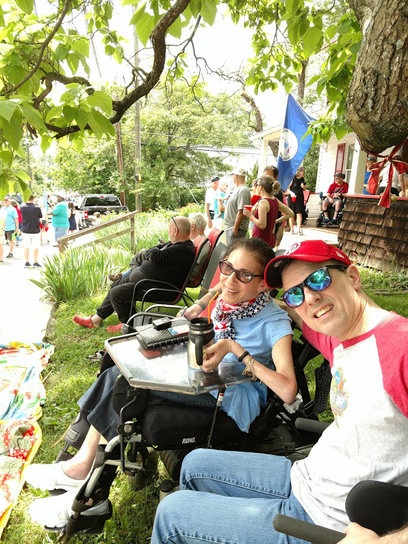 Happy on Wheels enjoying the Memorial Day parade in Falls Church, 5-19.