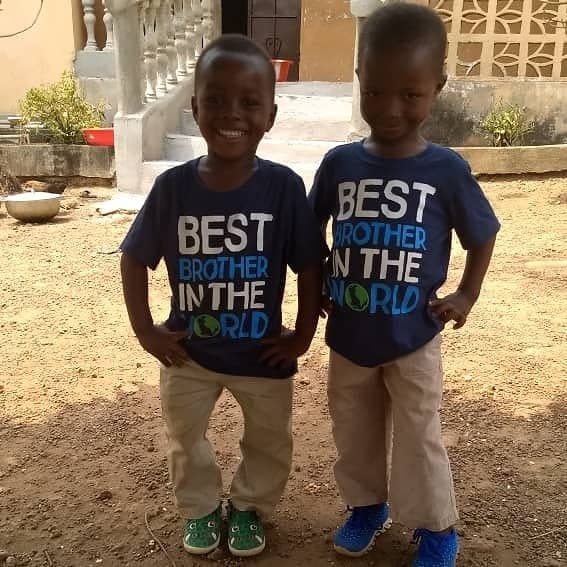 "Charlie (left) and Justice (right) wearing shirts that read, ""Best Brother in the World"", 3-19"