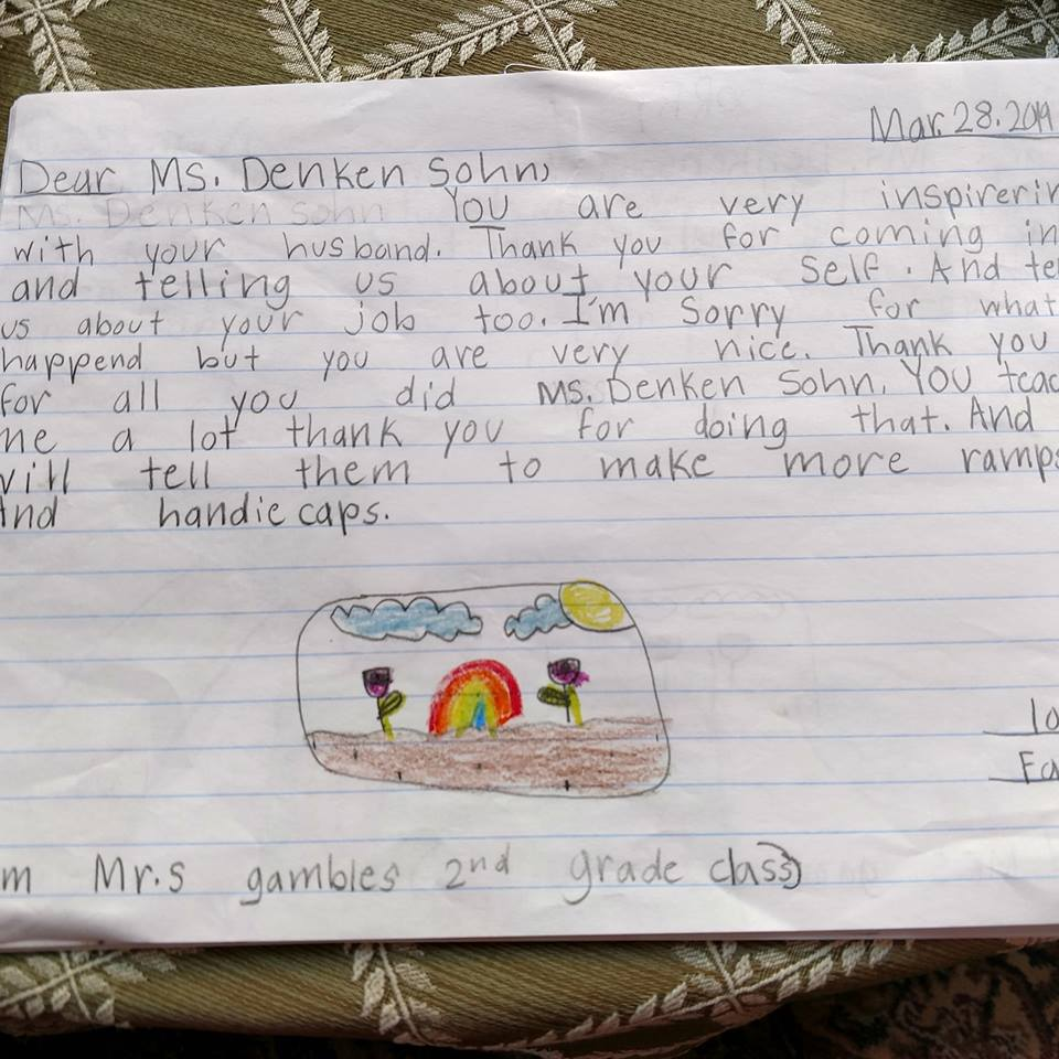 One of the wonderful thank you notes from a second grade class at a local elementary school where Happy on Wheels spoke, 4-19.