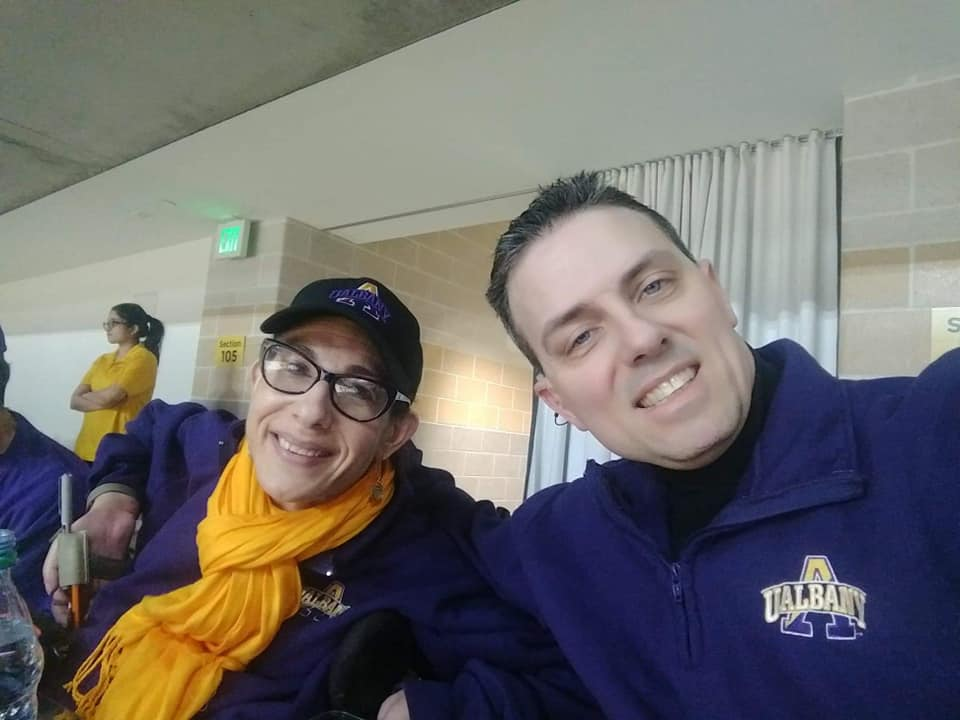 Happy on Wheels taking our basketball fandom on the road to attend  the University at Albany game at UMBC,  1-19.