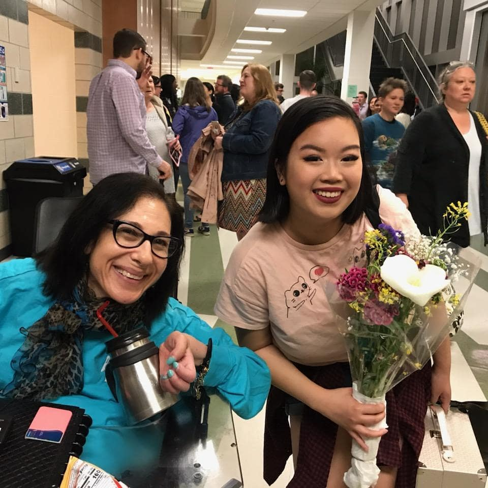 Sheri and MyChi Haan at the final night of their high school musical production, Chicago, 5-19.