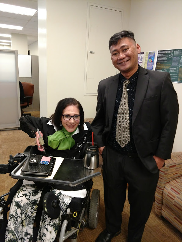 Sheri and Rockefeller Graduate Student Yacobus Tri Raharjo after a mock interview practice session, 5-19.