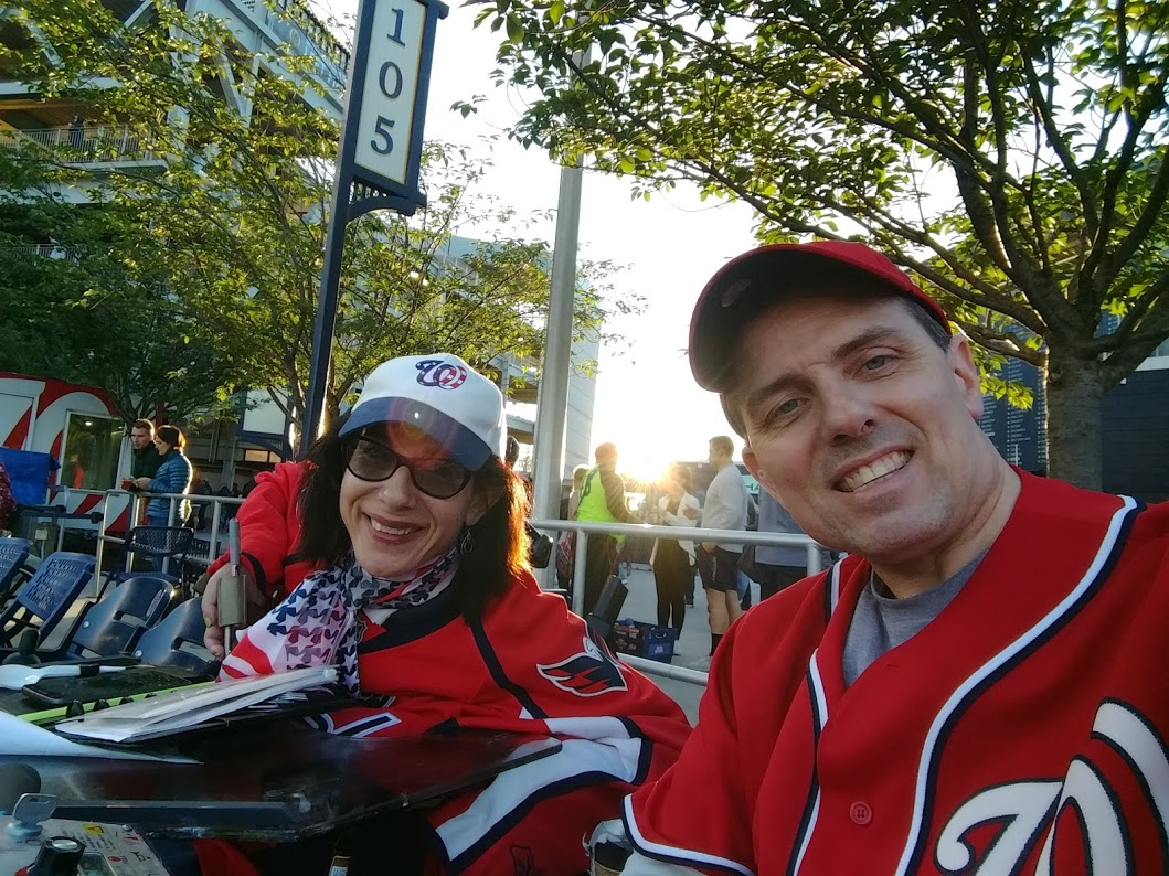 Happy on Wheels attending the Nationals v. Mets annual UAlbany baseball gathering on a chilly night, 5-19.
