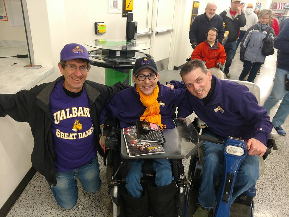 Happy on Wheels with Frank Jazzo at the University at Albany basketball game  at UMBC, 1-19.