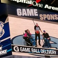 Happy on Wheels delivered the game ball in honor of Making Strides Against Breast Cancer when Georgetown played Providence at Capital One Arena, 2-20.