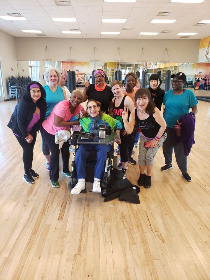 Sheri with her zumba class at LA Fitness in Springfield, VA, 3-20.