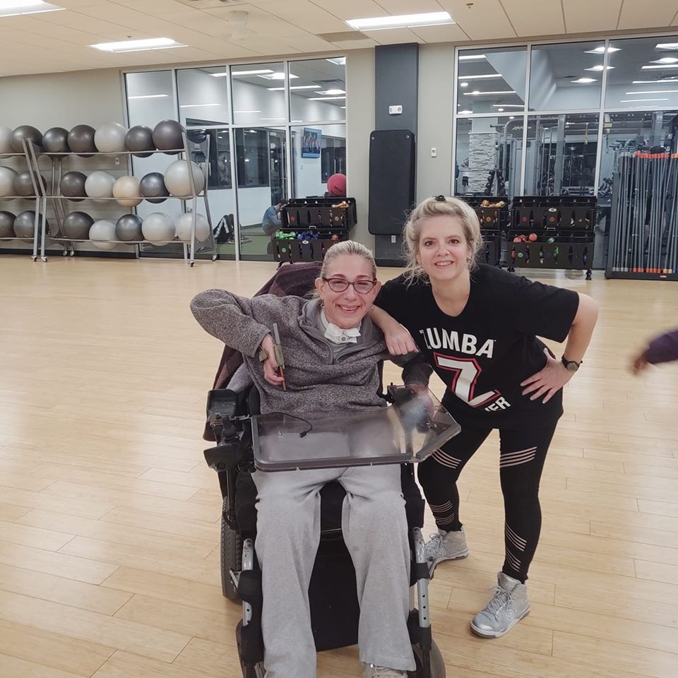 Sheri and her favorite Wednesday night Zumba instructor, resuming their connection after a long break, 1-20.
