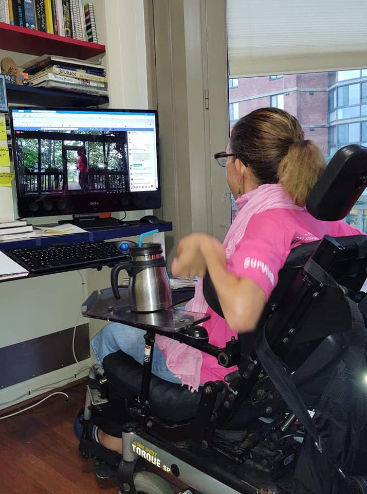 It is important to keep up your physical exercise routines even if they are different, like Sheri doing Zumba online with her favorite instructor, 8-20.