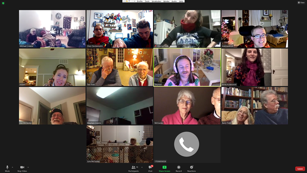 A wonderful Christmas Day Zoom with some of Tony's immediate and extended family, 12-20.