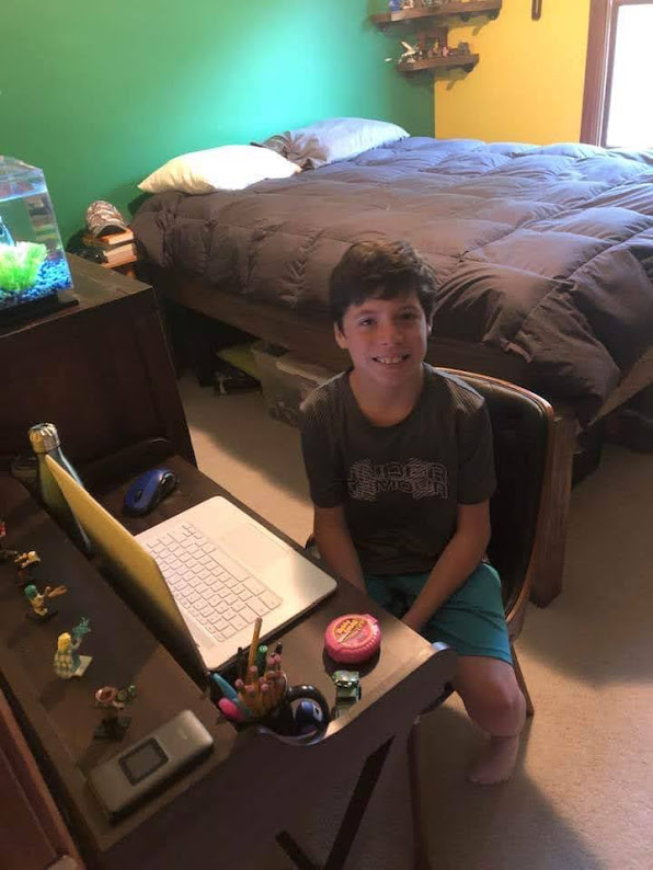 Happy on Wheels' great-nephew starting his first day of virtual school, 10-20.