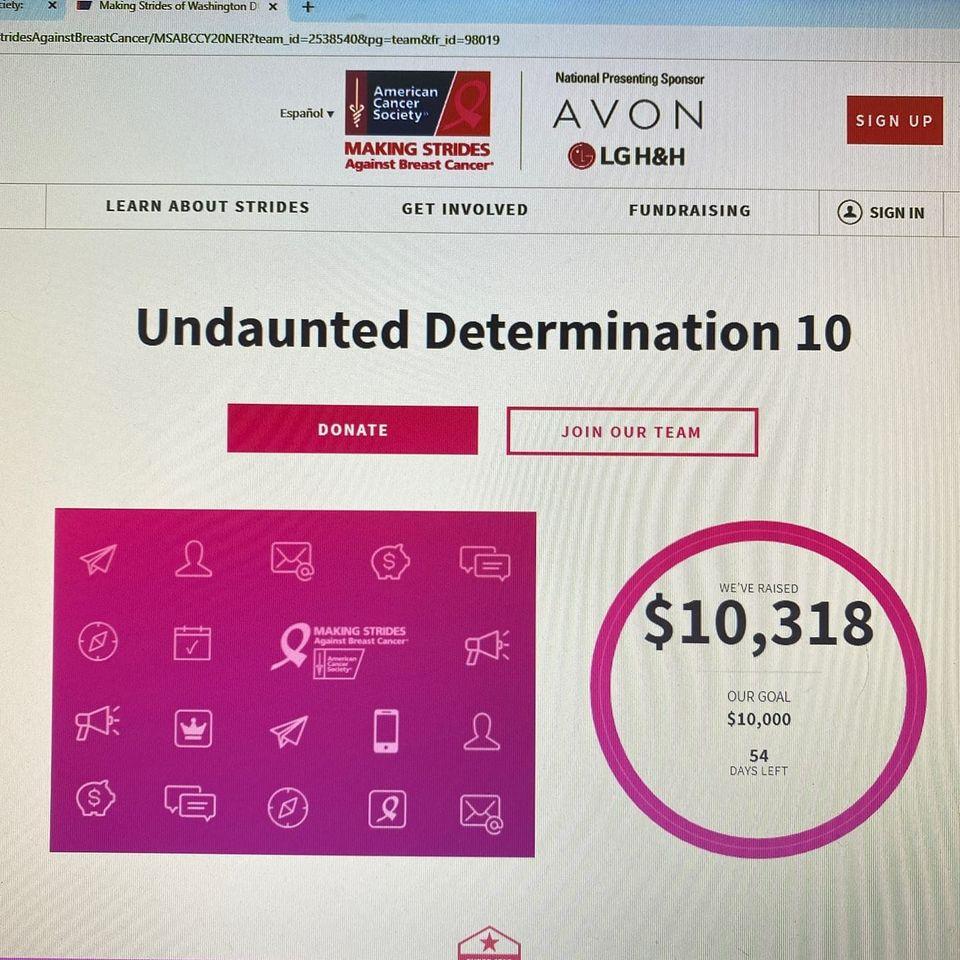 Sheri's team, Undaunted Determination, exceeds their $10,000 fundraising goal, 10-20.