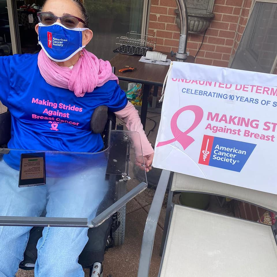 Sheri dressed and ready on the day of the Making Strides Against Breast Cancer virtual walk, 11-20.