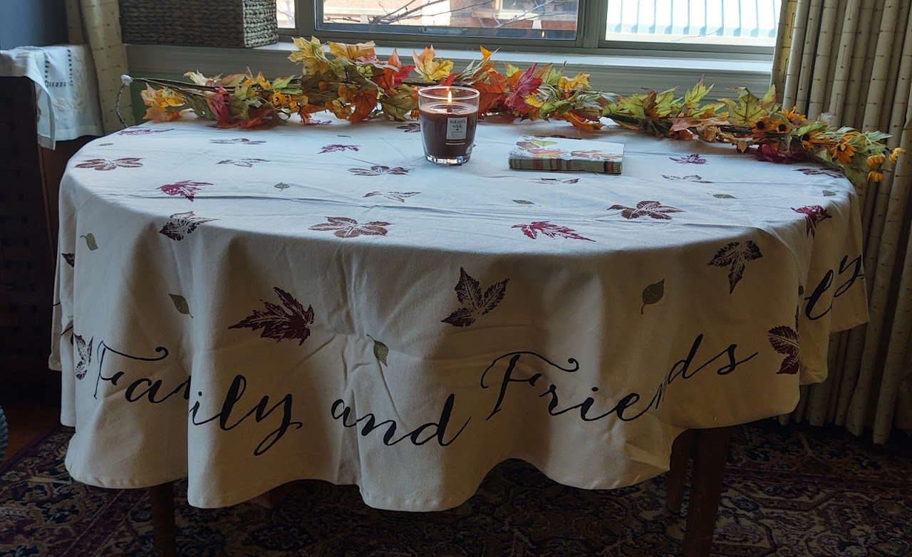 Dining room table ready for Thanksgiving, 11-20.