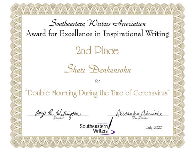 """Sheri's second place award for """"Inspirational Writing"""" for the Southeastern Writers Association annual contest, 7-20."""