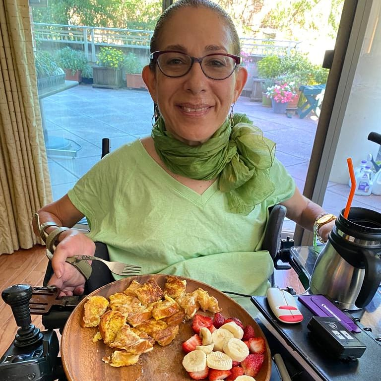 Amazing Sunday brunch of Challah French toast and fruit, 9-21.