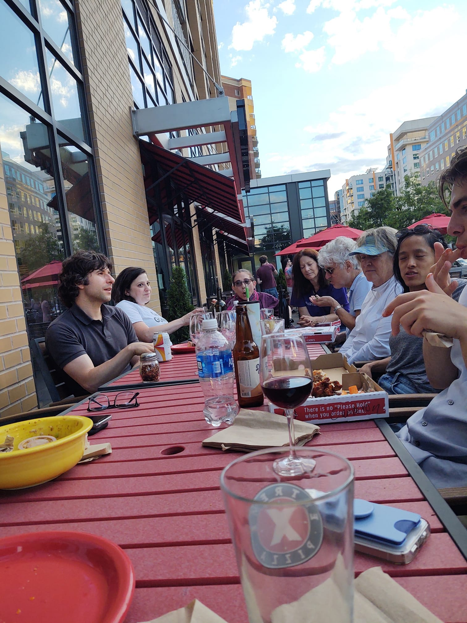 Although we are still careful, now that rules about gathering in smaller groups are slightly relaxed, it was nice to have a pizza dinner outside with family, 6-21.