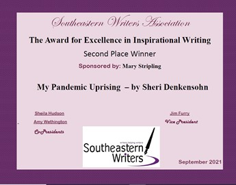 Sheri received an award for her writing, 9-21.
