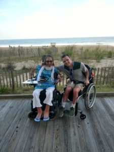 Happy on Wheels on the boardwalk at Rehoboth Beach