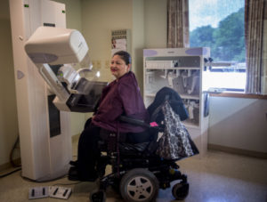 Accesible mammogram machine