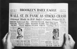 Front page of a newspaper the day the stock market crashed
