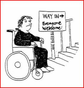 """Wheelchair at the bottom of stairs with a sign that says """"Way in"""""""