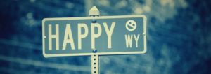"Streetsign that says ""Happy Way"""