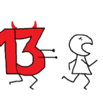 Stick figure being chased by a number 13.